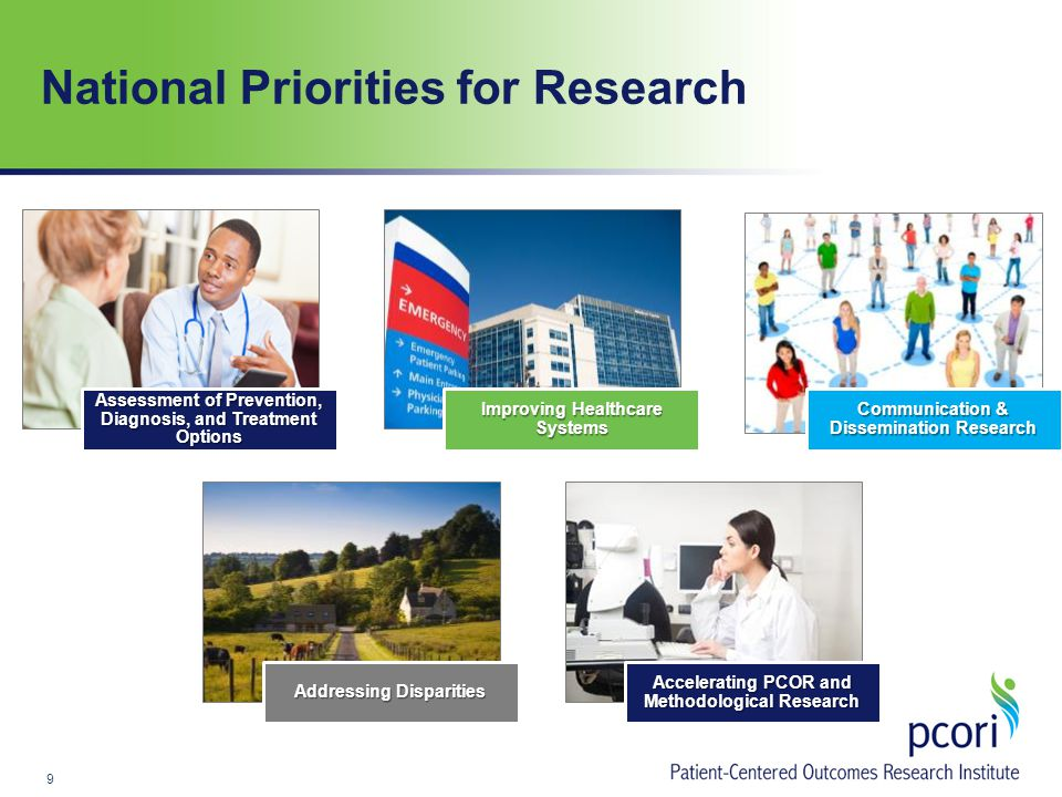 National Priorities for Research Assessment of Prevention, Diagnosis, and Treatment Options Improving Healthcare Systems Communication & Dissemination Research Addressing Disparities Accelerating PCOR and Methodological Research 9