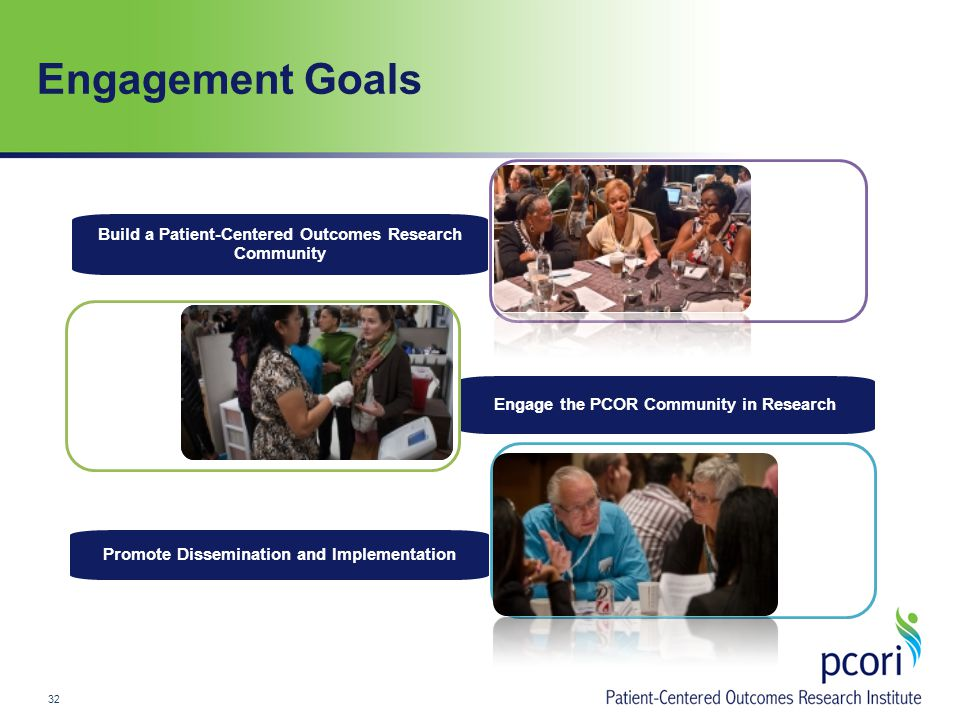 Engagement Goals 32 Promote Dissemination and Implementation Engage the PCOR Community in Research Build a Patient-Centered Outcomes Research Community