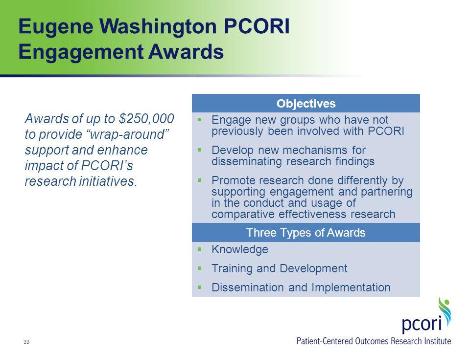 Eugene Washington PCORI Engagement Awards Awards of up to $250,000 to provide wrap-around support and enhance impact of PCORI's research initiatives.