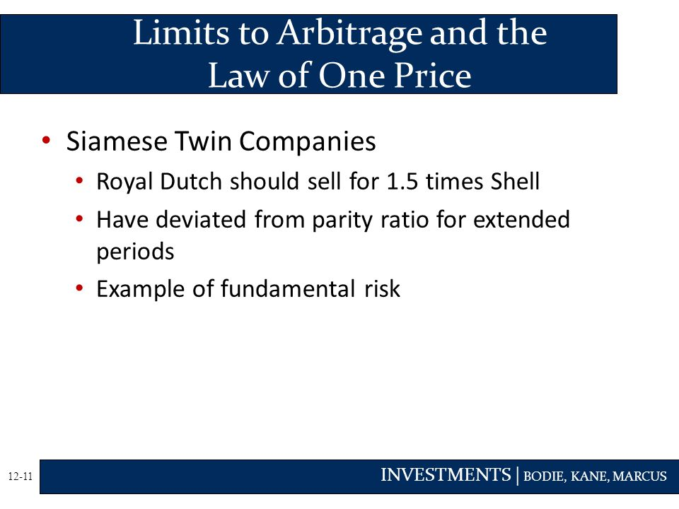 INVESTMENTS | BODIE, KANE, MARCUS 12-11 Siamese Twin Companies Royal Dutch should sell for 1.5 times Shell Have deviated from parity ratio for extended periods Example of fundamental risk Limits to Arbitrage and the Law of One Price