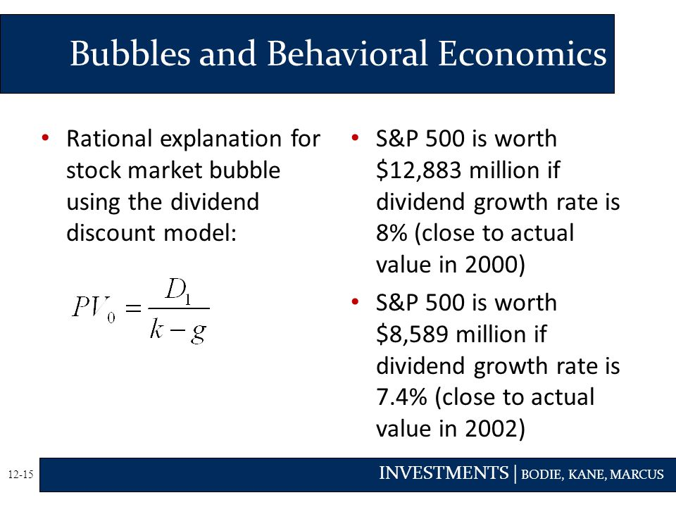 INVESTMENTS | BODIE, KANE, MARCUS 12-15 Bubbles and Behavioral Economics Rational explanation for stock market bubble using the dividend discount model: S&P 500 is worth $12,883 million if dividend growth rate is 8% (close to actual value in 2000) S&P 500 is worth $8,589 million if dividend growth rate is 7.4% (close to actual value in 2002)