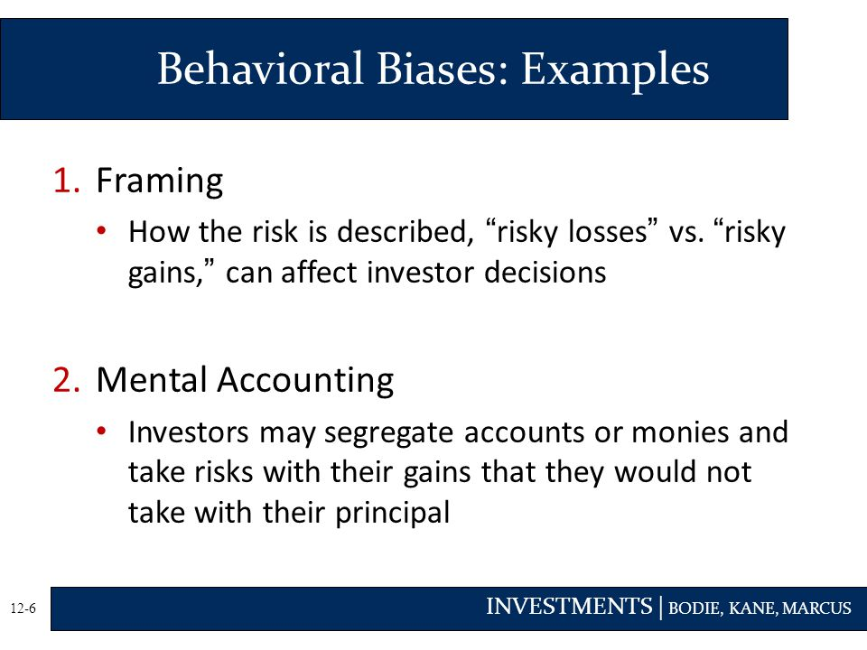 INVESTMENTS | BODIE, KANE, MARCUS 12-6 1.Framing How the risk is described, risky losses vs.