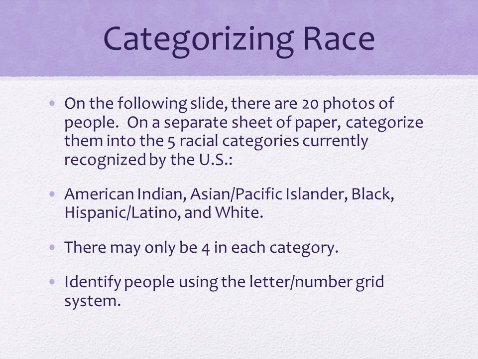 Categorizing Race On the following slide, there are 20 photos of people. On a separate sheet of paper, categorize them into the 5 racial categories cu