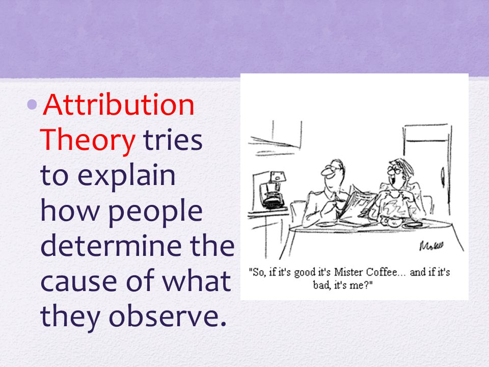 Attribution Theory tries to explain how people determine the cause of what they observe.
