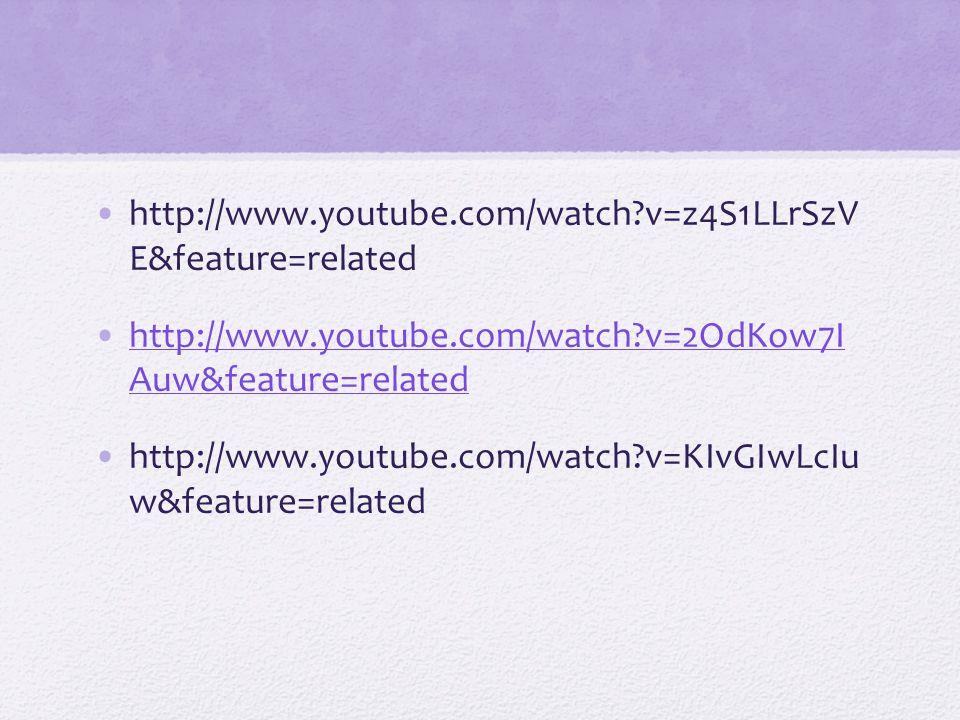 http://www.youtube.com/watch?v=z4S1LLrSzV E&feature=related http://www.youtube.com/watch?v=2OdKow7I Auw&feature=relatedhttp://www.youtube.com/watch?v=