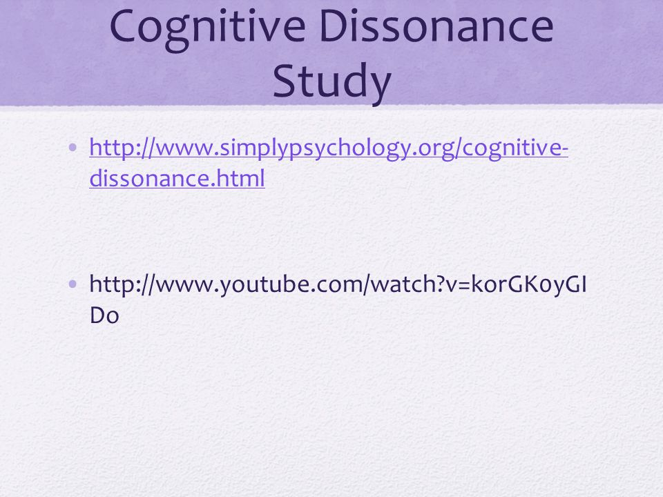 Cognitive Dissonance Study http://www.simplypsychology.org/cognitive- dissonance.htmlhttp://www.simplypsychology.org/cognitive- dissonance.html http:/
