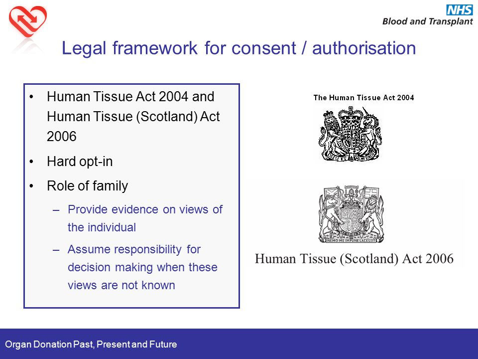 Organ Donation Past, Present and Future Legal framework for consent / authorisation Human Tissue Act 2004 and Human Tissue (Scotland) Act 2006 Hard opt-in Role of family –Provide evidence on views of the individual –Assume responsibility for decision making when these views are not known