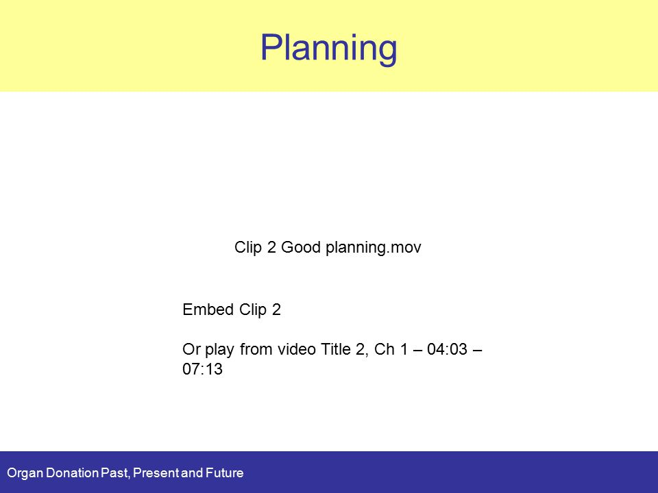 Organ Donation Past, Present and Future Planning Clip 2 Good planning.mov Embed Clip 2 Or play from video Title 2, Ch 1 – 04:03 – 07:13