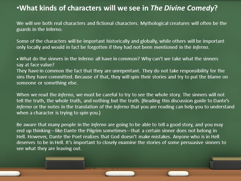 What kinds of characters will we see in The Divine Comedy.