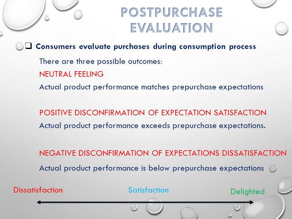  Consumers evaluate purchases during consumption process There are three possible outcomes: NEUTRAL FEELING Actual product performance matches prepurchase expectations POSITIVE DISCONFIRMATION OF EXPECTATION SATISFACTION Actual product performance exceeds prepurchase expectations.