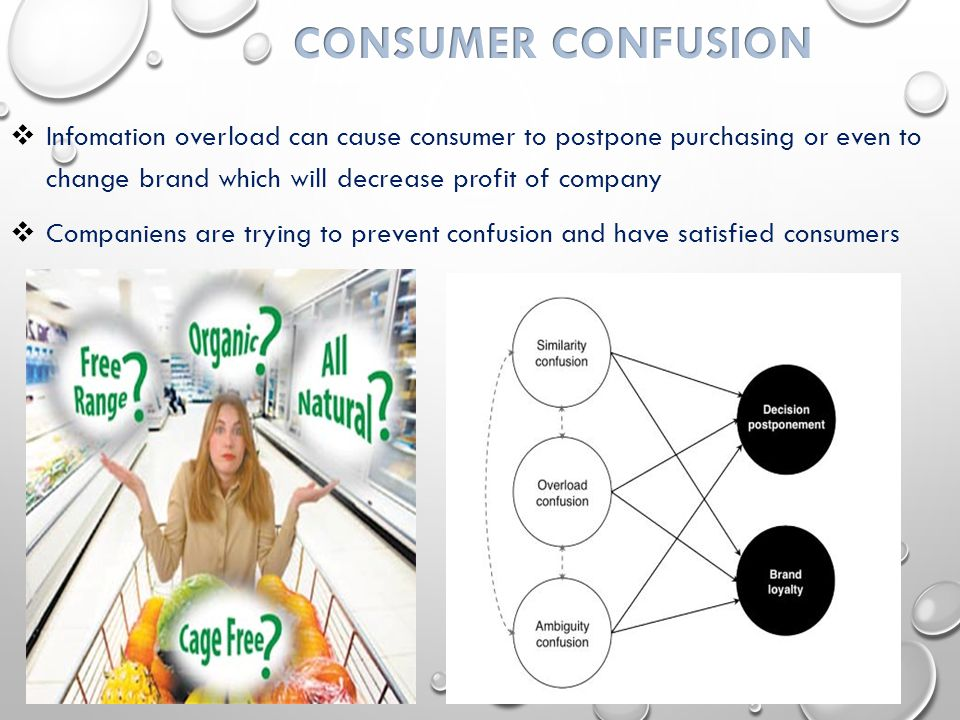  Infomation overload can cause consumer to postpone purchasing or even to change brand which will decrease profit of company  Companiens are trying to prevent confusion and have satisfied consumers