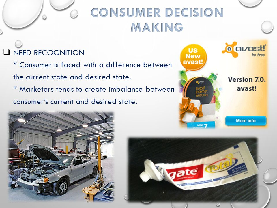  NEED RECOGNITION * Consumer is faced with a difference between the current state and desired state.