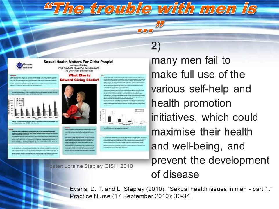 2) many men fail to make full use of the various self-help and health promotion initiatives, which could maximise their health and well-being, and pre