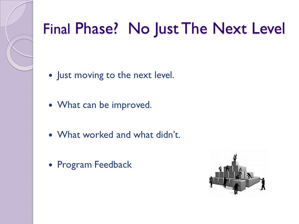 Final Phase. No Just The Next Level Just moving to the next level.