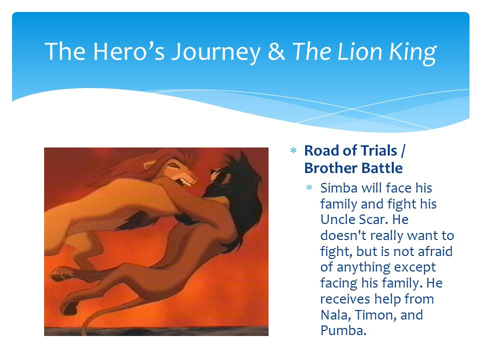  Atonement with the Father  Simba is told the truth about his father s death not being his fault.