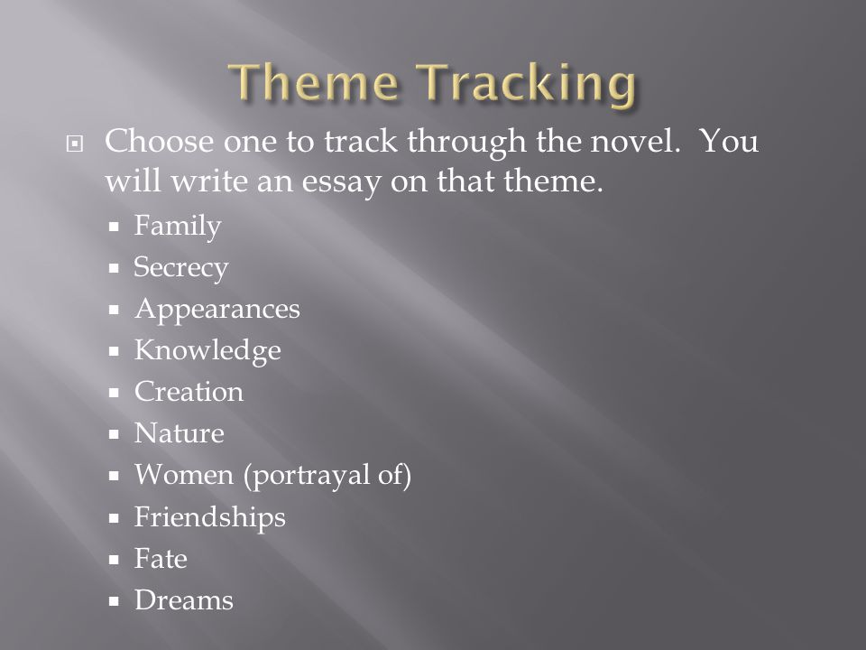  Choose one to track through the novel. You will write an essay on that theme.