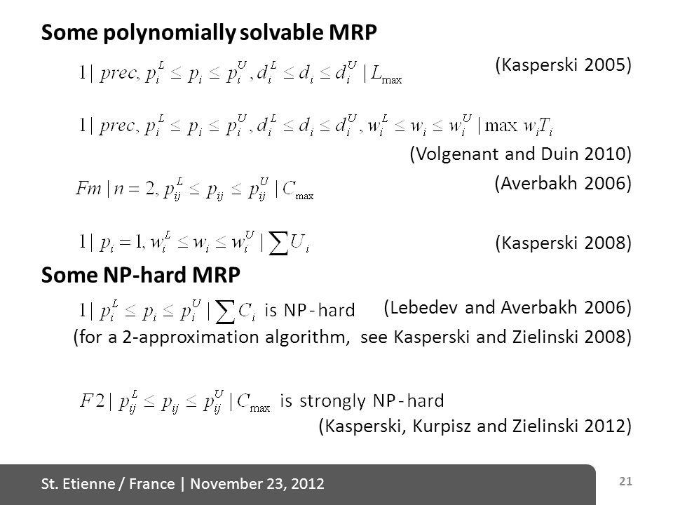 St. Etienne / France   November 23, 2012 Some polynomially solvable MRP (Kasperski 2005) (Volgenant and Duin 2010) (Averbakh 2006) (Kasperski 2008) So