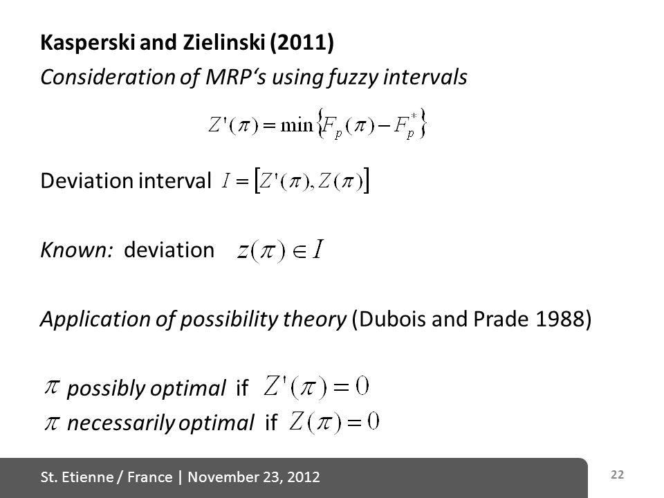 St. Etienne / France   November 23, 2012 Kasperski and Zielinski (2011) Consideration of MRP's using fuzzy intervals Deviation interval Known: deviati