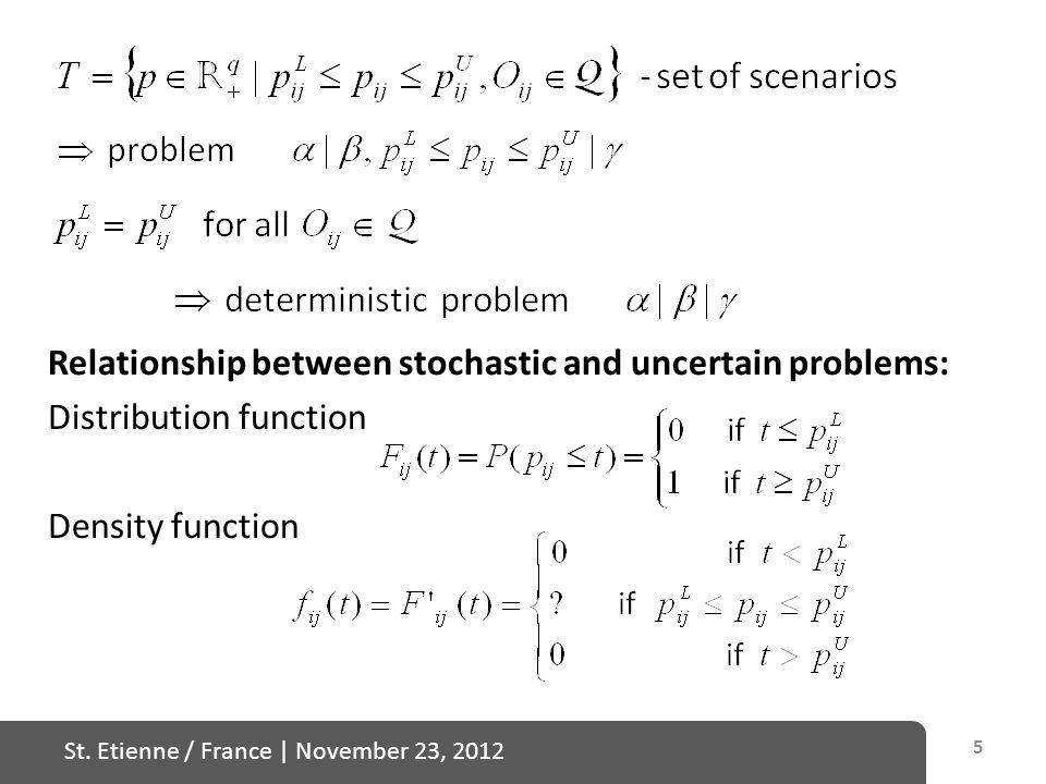 St. Etienne / France   November 23, 2012 5 Relationship between stochastic and uncertain problems: Distribution function Density function