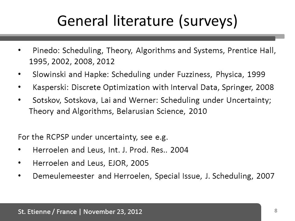 St. Etienne / France   November 23, 2012 General literature (surveys) Pinedo: Scheduling, Theory, Algorithms and Systems, Prentice Hall, 1995, 2002, 2