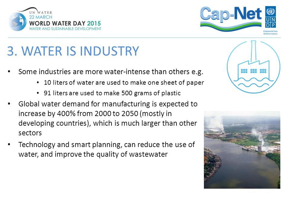 Some industries are more water-intense than others e.g. 10 liters of water are used to make one sheet of paper 91 liters are used to make 500 grams of