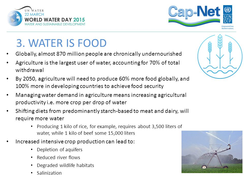 Globally, almost 870 million people are chronically undernourished Agriculture is the largest user of water, accounting for 70% of total withdrawal By