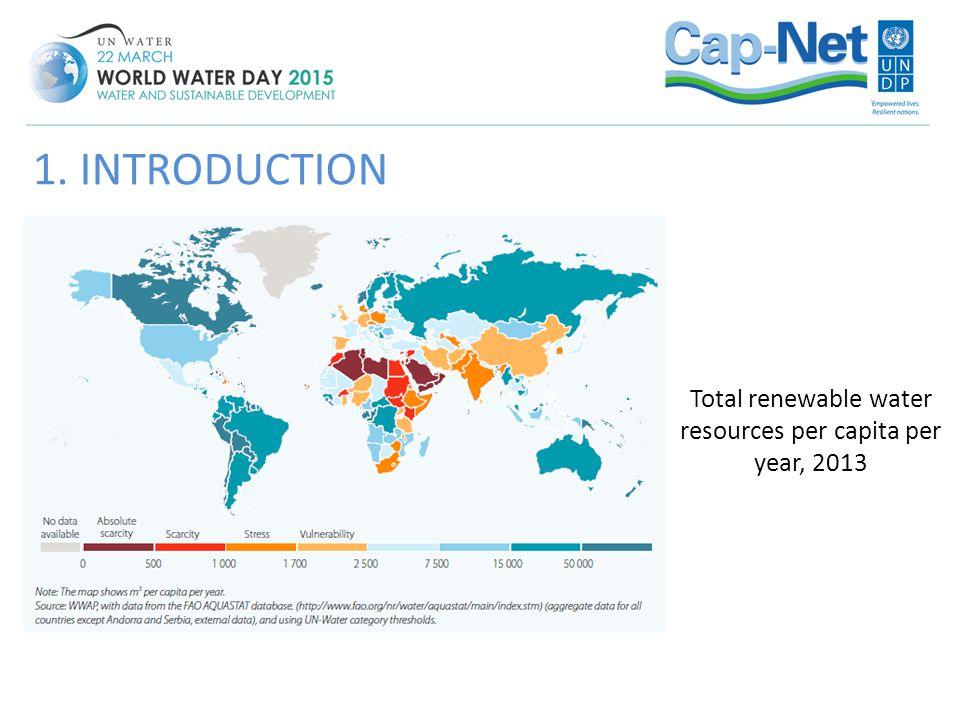 Total renewable water resources per capita per year, 2013