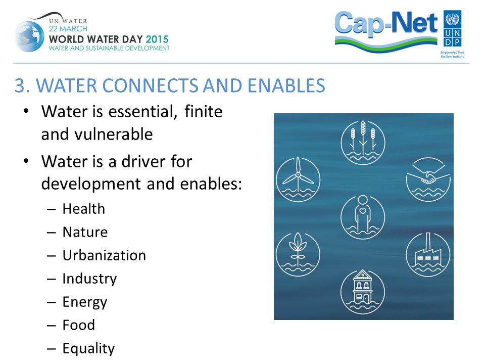 Water is essential, finite and vulnerable Water is a driver for development and enables: – Health – Nature – Urbanization – Industry – Energy – Food –