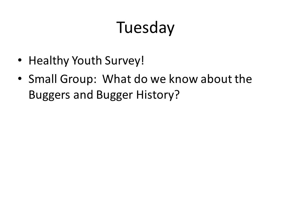 Tuesday Healthy Youth Survey! Small Group: What do we know about the Buggers and Bugger History