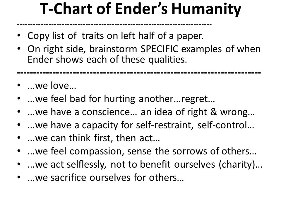 T-Chart of Ender's Humanity -------------------------------------------------------------------------- Copy list of traits on left half of a paper.