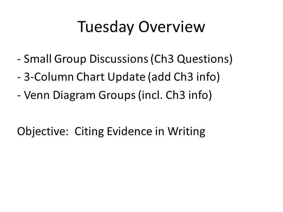Tuesday Overview - Small Group Discussions (Ch3 Questions) - 3-Column Chart Update (add Ch3 info) - Venn Diagram Groups (incl.