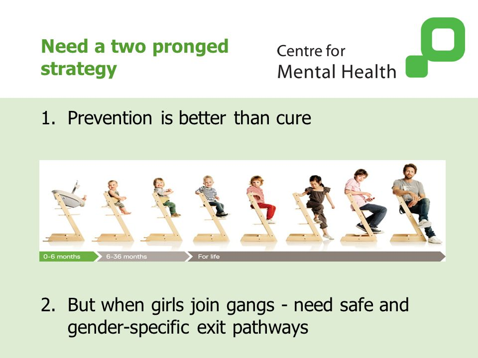 Need a two pronged strategy 1.Prevention is better than cure 2.But when girls join gangs - need safe and gender-specific exit pathways