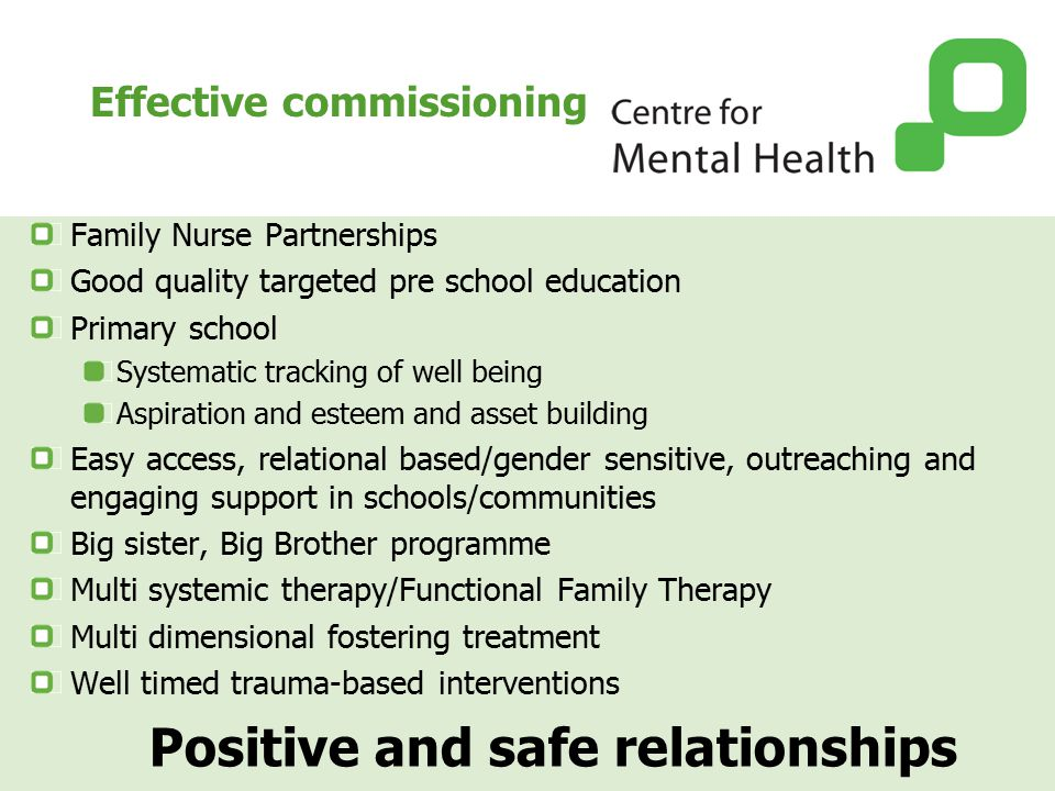 Effective commissioning Family Nurse Partnerships Good quality targeted pre school education Primary school Systematic tracking of well being Aspiration and esteem and asset building Easy access, relational based/gender sensitive, outreaching and engaging support in schools/communities Big sister, Big Brother programme Multi systemic therapy/Functional Family Therapy Multi dimensional fostering treatment Well timed trauma-based interventions Positive and safe relationships