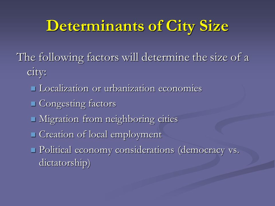 Benefits and Costs of Big Cities Larger cities benefit from agglomeration economies reflected in higher wages.