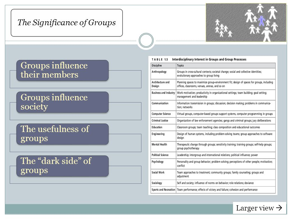 The Significance of Groups Groups influence their members Groups influence society The usefulness of groups The dark side of groups Larger view 