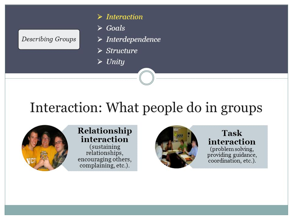 Describing Groups  Interaction  Goals  Interdependence  Structure  Unity Interaction: What people do in groups Relationship interaction (sustaining relationships, encouraging others, complaining, etc.).