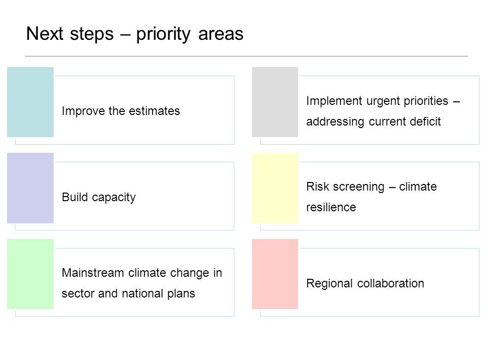 Next steps – priority areas