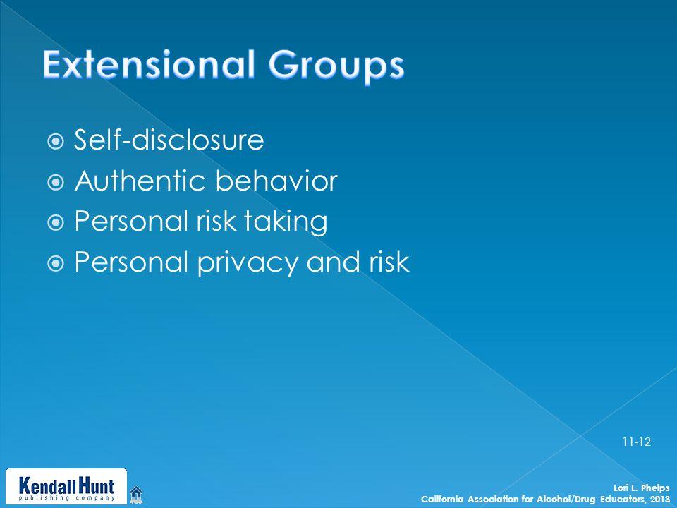  Self-disclosure  Authentic behavior  Personal risk taking  Personal privacy and risk Lori L.