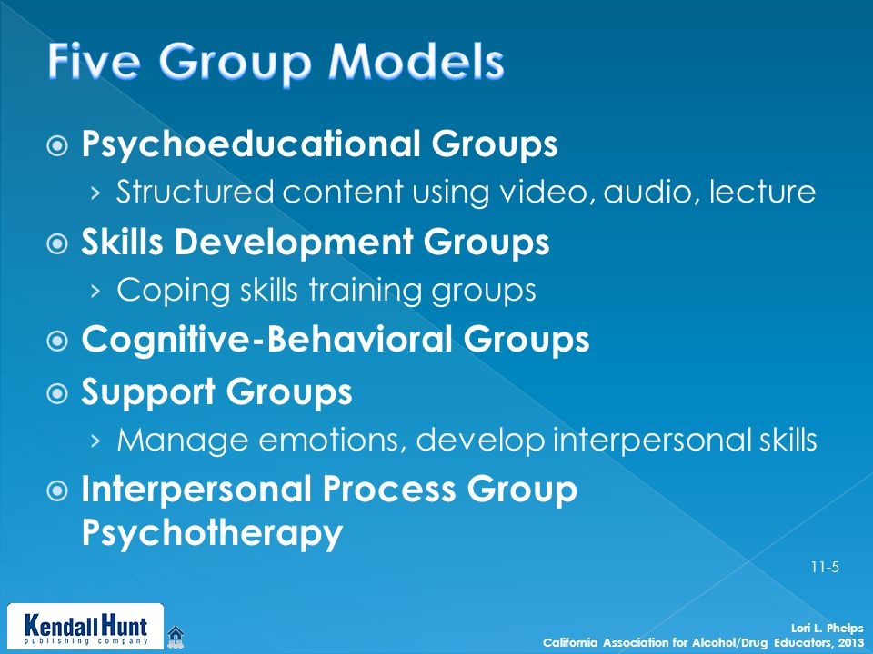  Psychoeducational Groups › Structured content using video, audio, lecture  Skills Development Groups › Coping skills training groups  Cognitive-Behavioral Groups  Support Groups › Manage emotions, develop interpersonal skills  Interpersonal Process Group Psychotherapy Lori L.