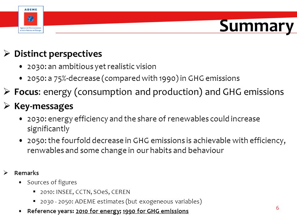 Summary  Distinct perspectives 2030: an ambitious yet realistic vision 2050: a 75%-decrease (compared with 1990) in GHG emissions  Focus: energy (consumption and production) and GHG emissions  Key-messages 2030: energy efficiency and the share of renewables could increase significantly 2050: the fourfold decrease in GHG emissions is achievable with efficiency, renwables and some change in our habits and behaviour  Remarks Sources of figures  2010: INSEE, CCTN, SOeS, CEREN  2030 - 2050: ADEME estimates (but exogeneous variables) Reference years: 2010 for energy; 1990 for GHG emissions 6