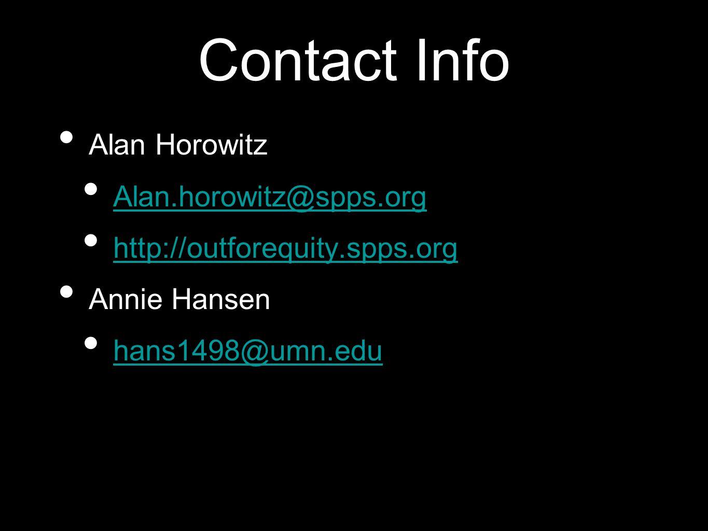 Contact Info Alan Horowitz Alan.horowitz@spps.org http://outforequity.spps.org Annie Hansen hans1498@umn.edu