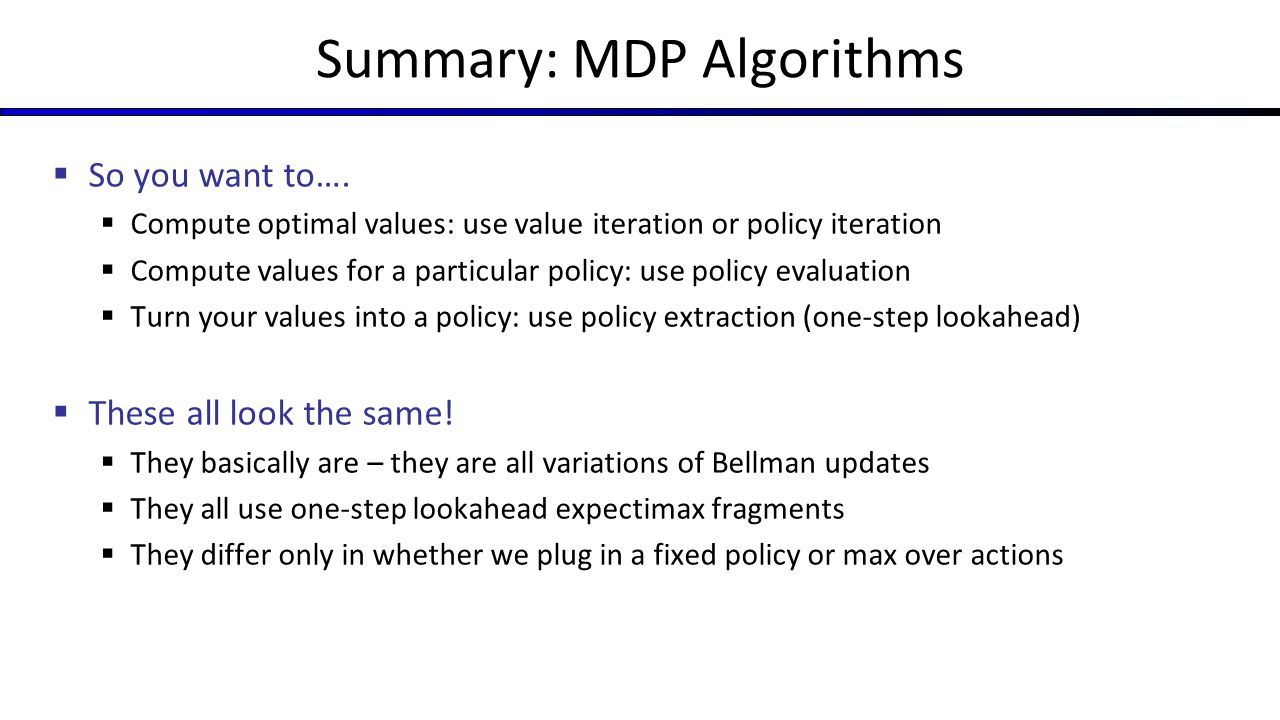 Summary: MDP Algorithms  So you want to….