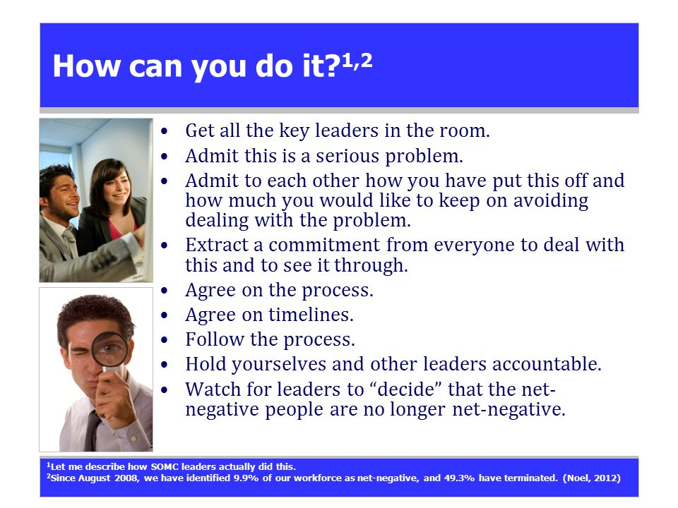 How can you do it. 1,2 Get all the key leaders in the room.