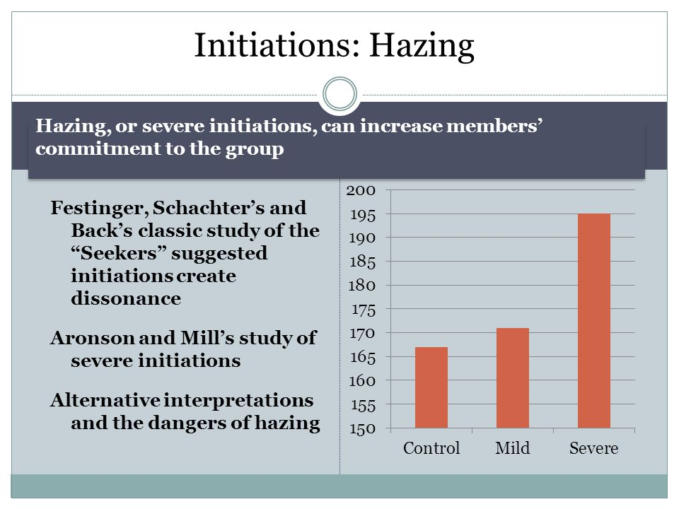 "Initiations: Hazing Festinger, Schachter's and Back's classic study of the ""Seekers"" suggested initiations create dissonance Aronson and Mill's study"