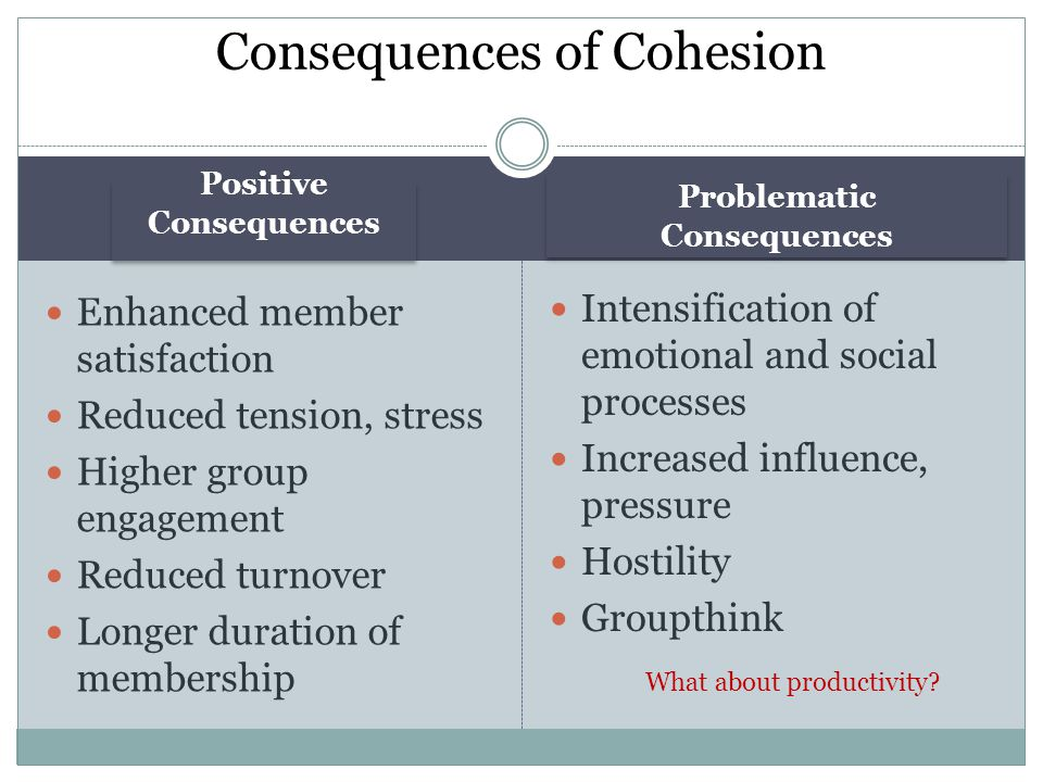 Positive Consequences Problematic Consequences Enhanced member satisfaction Reduced tension, stress Higher group engagement Reduced turnover Longer du