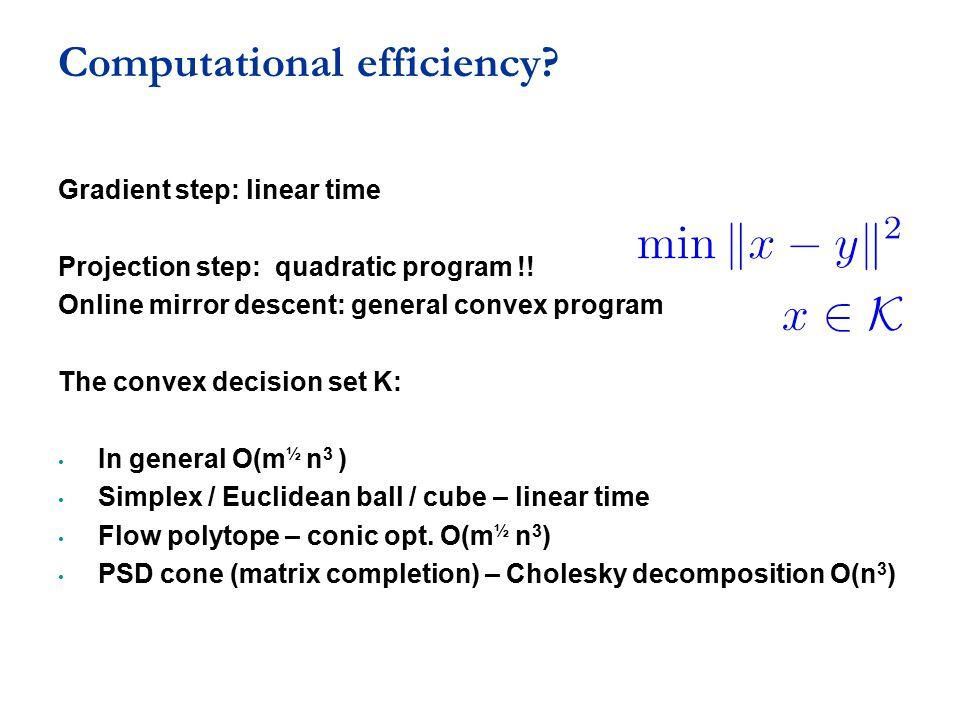 Computational efficiency? Gradient step: linear time Projection step: quadratic program !! Online mirror descent: general convex program The convex de