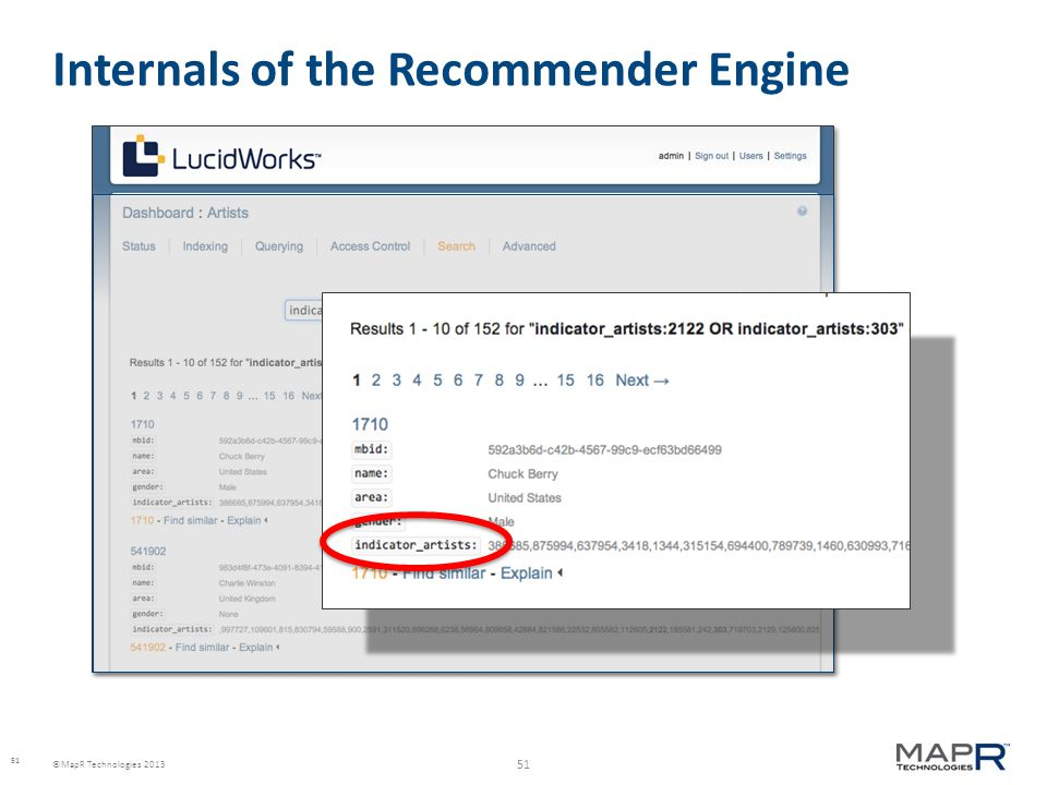 51 ©MapR Technologies 2013 Internals of the Recommender Engine 51
