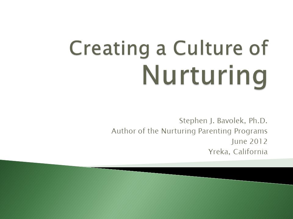 Stephen J. Bavolek, Ph.D. Author of the Nurturing Parenting Programs June 2012 Yreka, California