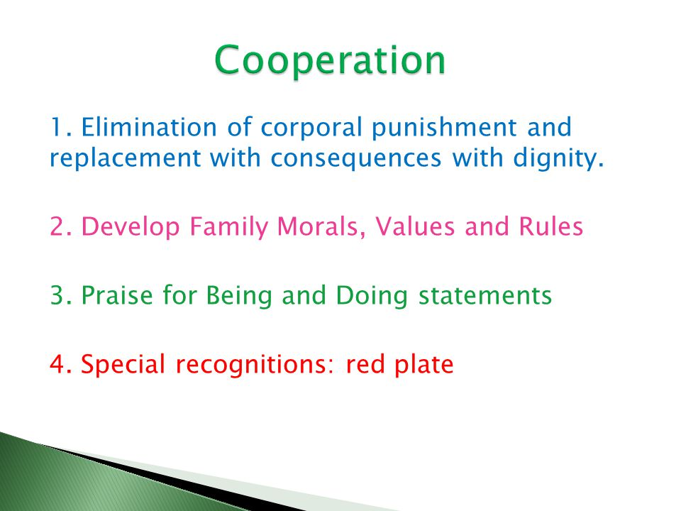 1. Elimination of corporal punishment and replacement with consequences with dignity. 2. Develop Family Morals, Values and Rules 3. Praise for Being a