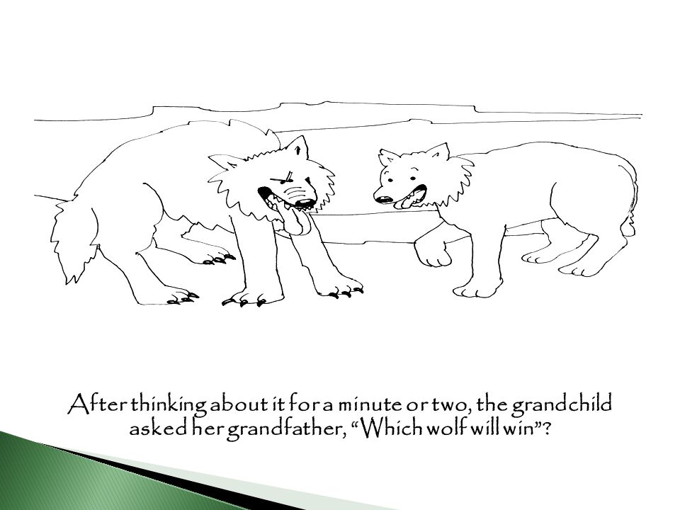 After thinking about it for a minute or two, the grandchild asked her grandfather, Which wolf will win